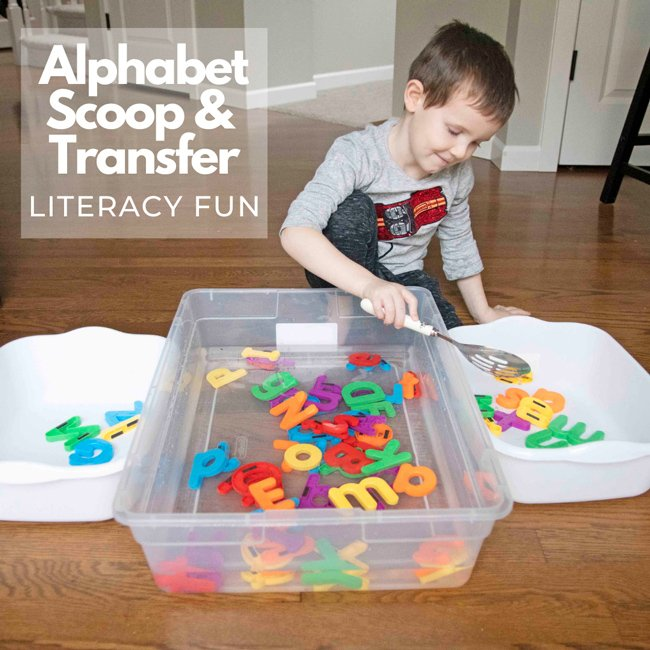 ALPHABET SCOOP AND TRANSFER: A fun and easy literacy, sensory, life skills activity from Busy Toddler