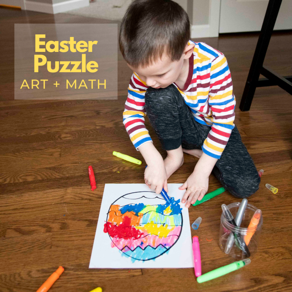 EASTER EGG PUZZLE CRAFT: Ready for some fun, easy Egg art for kids? This quick and easy Easter activity is perfect for the season! It's also great for a Humpty Dumpty unit - by Busy Toddler
