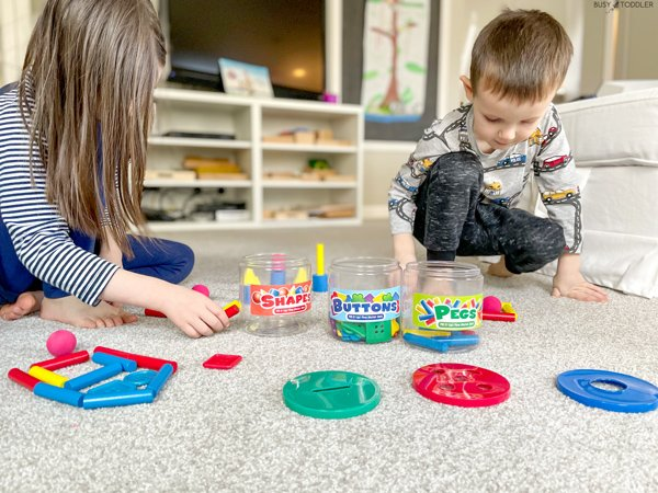 Kids playing with a math toy from Lakeshore Learning