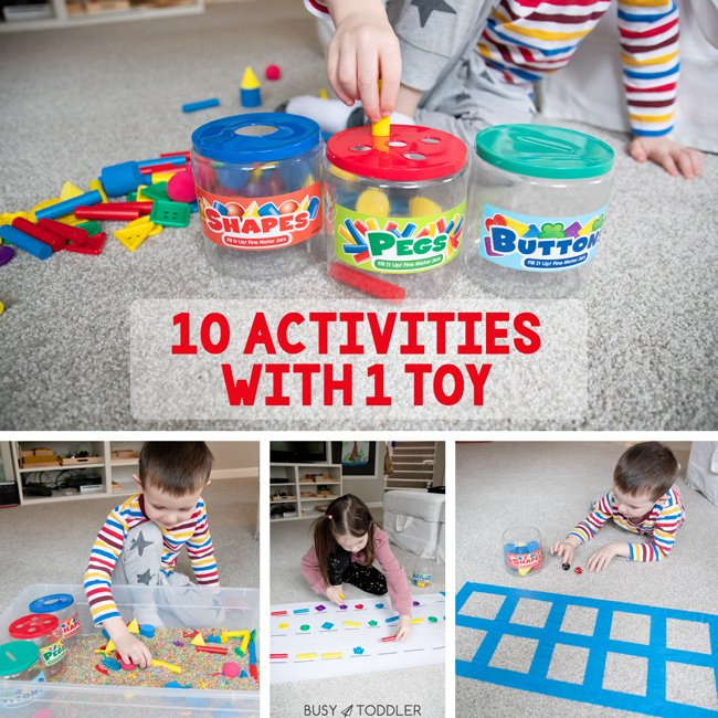 FILL IT UP! FINE MOTOR JARS (sponsored) A great toy from Lakeshore Learning and 10 activities to try with it! Such a fun way for kids to play and learn.