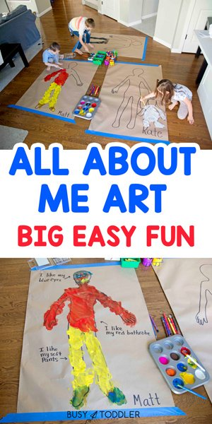 All About Me Body Art Activity: Check out this fun activity for an All About Me unit! Toddlers, preschoolers, kindergarteners will love this fun process art activity designed to talk more about who they are (by Busy Toddler)