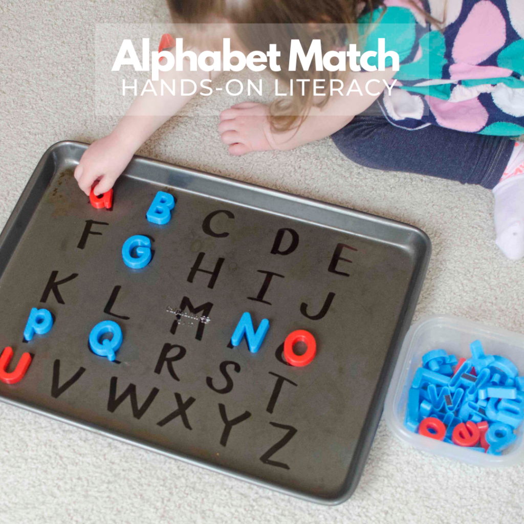 ALPHABET MAGNET MATCH-UP:  What a fun and easy alphabet activity from Busy Toddler! A play-based way to practice the alphabet, learn letters, and have fun. Such an easy indoor learning activity!