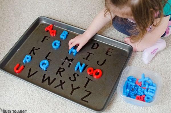Child doing a fun alphabet activity
