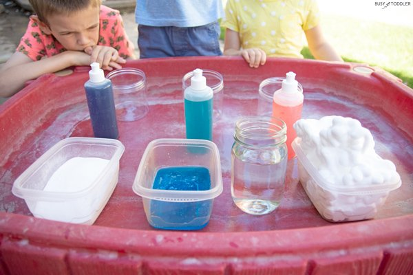 An outdoor science station for kids