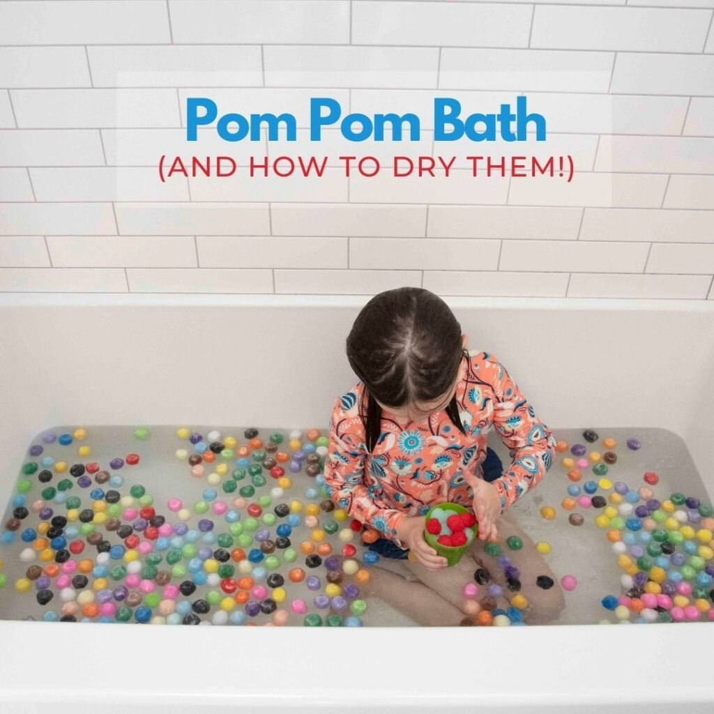 POM POM BATH ACTIVITY FOR KIDS OF ALL AGES: Yes, Pom Poms can get wet. It'll be fine! This amazing rainy day indoor bath activity is THE BEST.