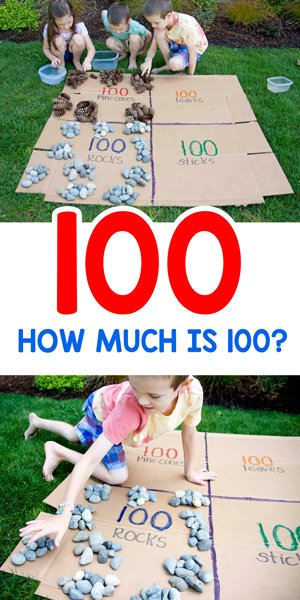 COUNTING TO 100: How many is 100? Find out in this great activity from Busy Toddler to support math play outside. A fun and easy activity!