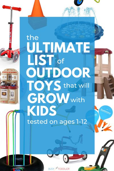 OUTDOOR TOYS FOR KIDS: What are the best outdoor toys? Check out this list of tried and true favorites from Busy Toddler. An amazing list of outdoor toys your kids will love.