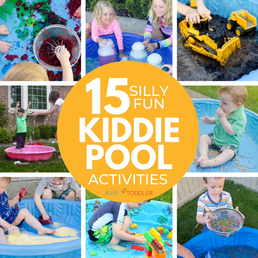 15 KIDDIE POOL ACTIVITIES FOR KIDS: The funnest list of kiddie pool activities to try in the summer. A random list of great ideas to do inside your kiddie / baby pool. From Busy Toddler