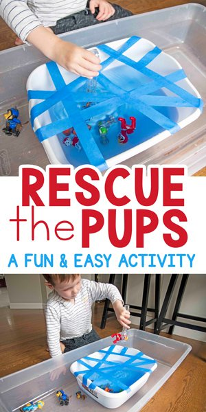 RESCUE THE PUPS:  A quick and easy fine motor + sensory activity. We are rescuing the paw patrol! The perfect indoor activity on a rainy day. You're toddler or preschooler will love this activity from Busy Toddler