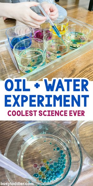 OIL AND WATER SCIENCE EXPERIMENT: This is the COOLEST science experiment for toddlers and preschoolers. What a fun activity for kids to try on an indoor rainy day (from Busy Toddler)
