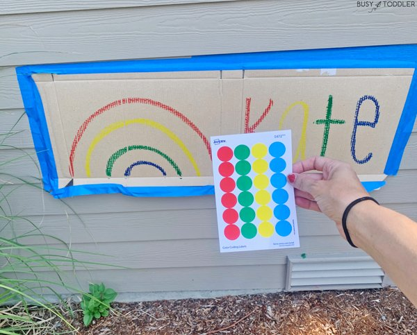 Dot stickers and a kids activity