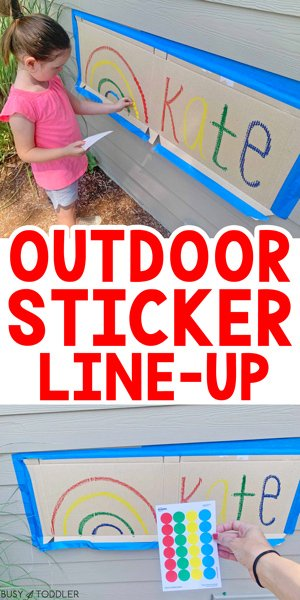 OUTDOOR STICKER LINE-UP: A fun and easy outdoor activity for kids using dot stickers. Kids will love this simple fine motor activity from Busy Toddler