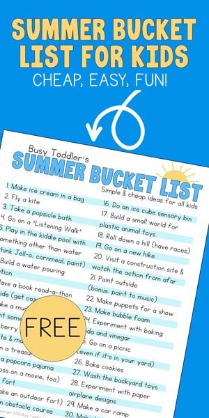 """SUMMER BUCKET LIST FOR KIDS: A quick and easy answer to """"what are we going to do today?"""" for the summer. An all ages bucket list of indoor and outdoor summer activities from Busy Toddler"""