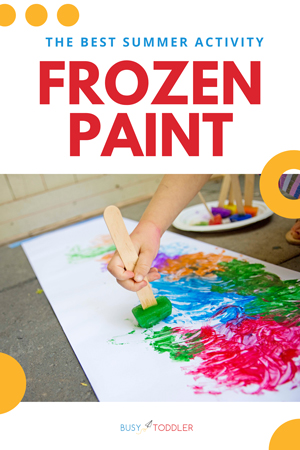 FROZEN PAINT SUMMER ACTIVITY: The most fun art activity for the summer. This easy outdoor activity lets kids paint with ice cubes - one of the best easy activities for toddlers and preschoolers (From Busy Toddler)