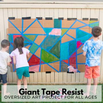 Giant Tape Resist Art Outdoor Activity