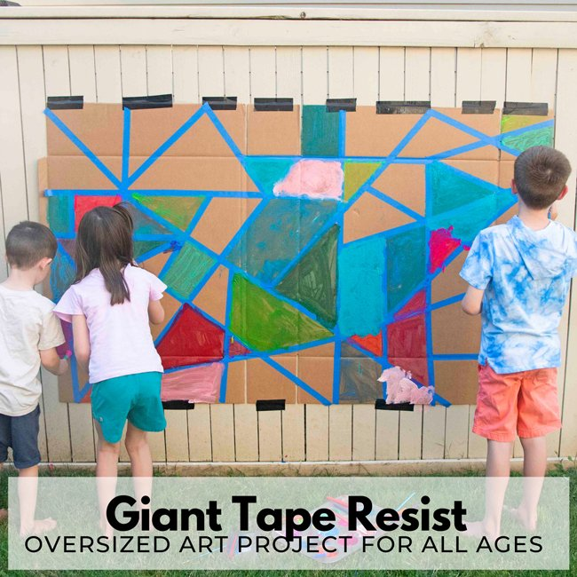 GIANT TAPE RESIST ART PROJECT: Oversized art is the coolest! Check out this collaborative art project that is AMAZING to do in the summer! Your kids will love this summer art project from Busy Toddler.