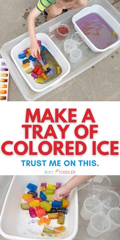 OUTDOOR COLORED ICE BIN: You've got to try this fun science activity with your toddler or preschoolers. This is the best easy outdoor activity OR indoor activity on a rainy day!