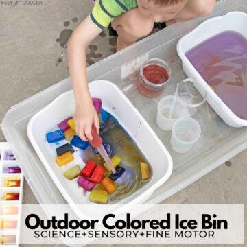 Outdoor Colored Ice Bin Activity