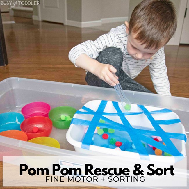 POM POM RESCUE AND SORT: A great fine motor activity for kids. This indoor activity is great for hand strength and math sorting. An activity designed by Busy Toddler.