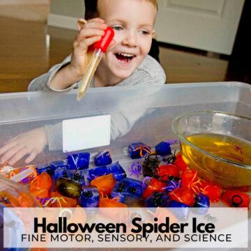Spider Ice Halloween Activity for Kids