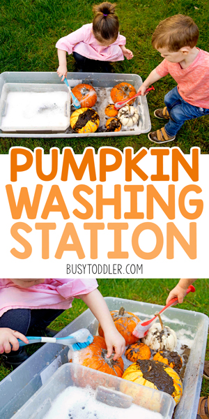 PUMPKIN WASHING STATION: A fun and easy fall toddler activity - let the toddlers wash the pumpkins! A great preschool activity for all kids. A pumpkin sensory bin!