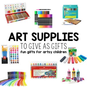 BEST ART SUPPLIES FOR KIDS: Looking for a non-toy gift idea for kids? What about really cool art supplies? Kids love opening up a new box of fancy crayons or markers. Check out this unique gift guide for kids from Busy Toddler