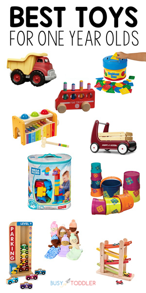 BEST TOYS FOR ONE YEAR OLDS: Check out this complete list of toys for 1-2 year olds from Busy Toddler. An amazing list of toys that kids will grow up with and play with for years to come.